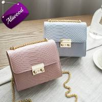 Simple Alligator Crocodile Leather Mini Small Women Crossbody Bag Chain Messenger Shoulder Bag Purse Handbags Bolsas