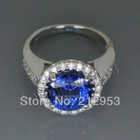 Vintage Round 8.9mm Solid 14kt White Gold 4.51Ct & AAAA Tanzanite Wedding Engagement Ring