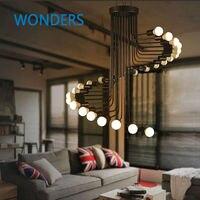 Loft Modern Pendant Light Iron Minimalist Spiral Staircase Lamp Drop Lighting Fixture for High Ceiling Office Shop Bar Cafe