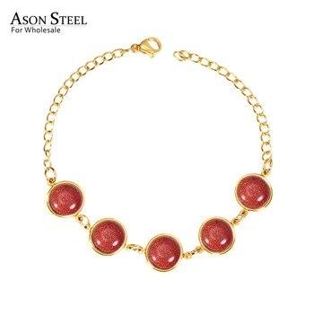 Pulsera Retro ASONSTEEL, pulsera de acero inoxidable, pulsera de mármol roja/azul/verde, oro/plata, regalo de joyería fina