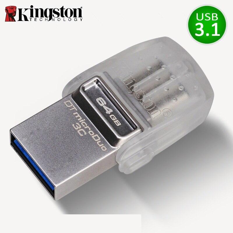 Kingston USB Flash Drive 64 GB Pendrive Mémoire USB 3.0 Memoria 32 gb usb Stick micro cle usb Flash Disque 64 gb Pour Type-c Smartphone
