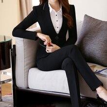 2017 Women Uniform Jackets Spring Autumn Slim Pants Suits Blazer Shrug Plus Size Trousers Suit Lady Office Coat Formal Overwear