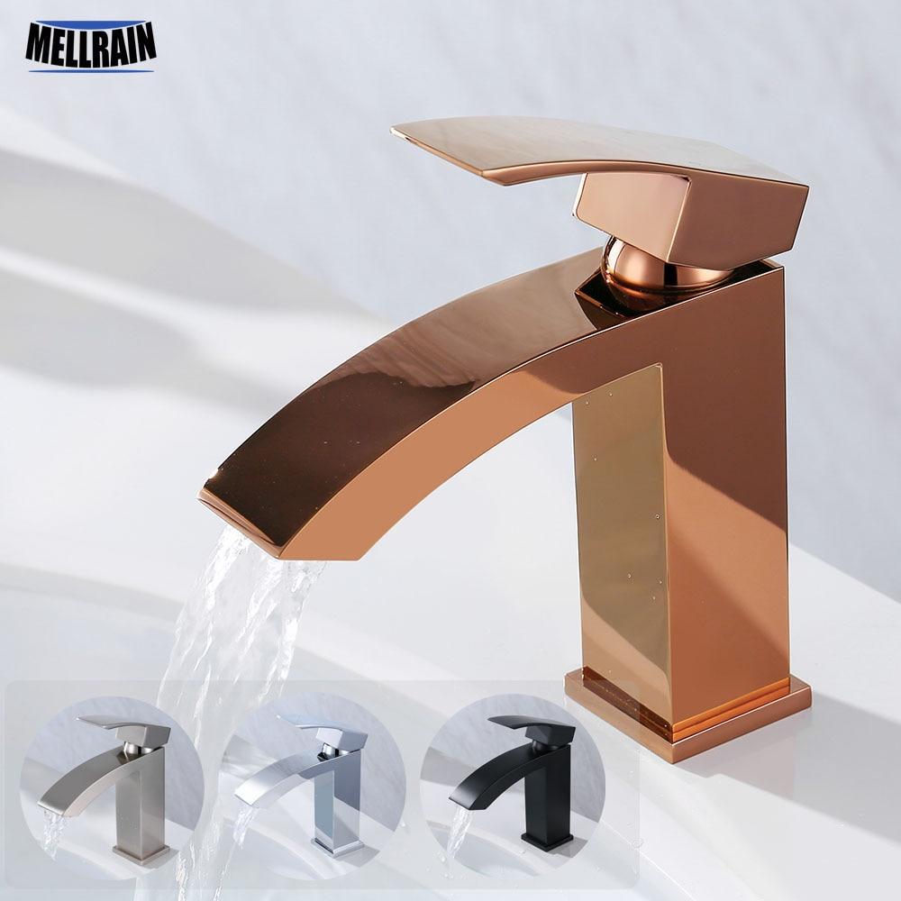 Soild Brass Quality Bathroom Waterfall Basin Faucet Matt Black Rose Chrome Brushed Nickel Single Hole Water