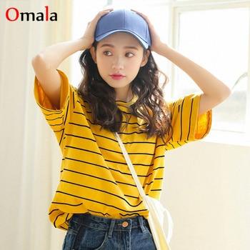 58a5f6b4191 Harajuku Vintage rayas estampadas camisetas 2019 verano Mujer camiseta  Ulzzang amarillo camiseta Casual suelta manga corta Camisetas Mujer