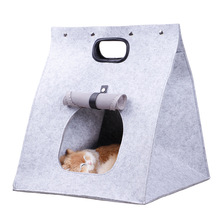 Folding Portable Cat Bed Felt Cave House Washable Collapsible Travel Bag For Puppy 3-In-1 Nest Mat Supplies