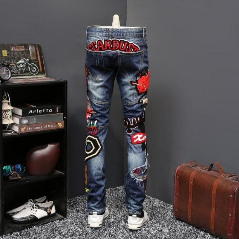 New fashion Men's Lady Printed Jeans Men Slim Straight Blue Long Jeans High Quality Designer Pants Nightclubs Singers Size 29-38