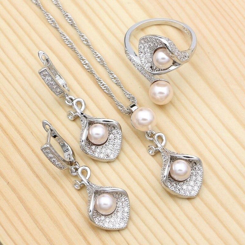 925-Sterling-Silver Jewelry-Flowers Pearls Zircon Pendant/necklace Adjustable Women Pink