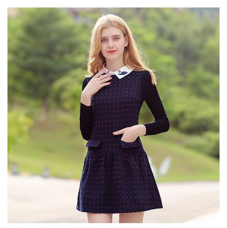 2019 Autumn Winter Collar Women's Sweaters Dresses Wool Patchwork Pattern Slim Vintage Dress Long Sleeve Knitting Dress