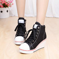 2016 Hot Fashion 8cm Thick Heel High Top Wedge Heel Woman Shoes Canvas Lace Up  Girl Ladies Woman Shoes  Footwears Mujer Zapatos