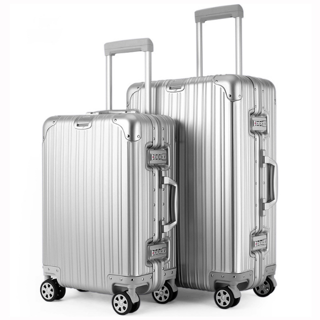 "20""24"" 100% Full Aluminum Shell Luggage Multiwheel Travel Suitcase,Metal Angle Reinforced Carry-on Cabin Trolley Case"