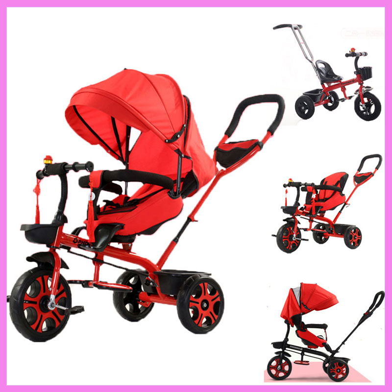 4 In 1 Kids Tricycle Swivel Seat Pushchair Handbar Baby Stroller 2 In 1 3 In 1 Children Bicycle Can Be Sitting Lying Pram Buggy baby stroller with cute ceiling swivel wheel pushchair wide seat deluxe high view traveling trolly with snack tray