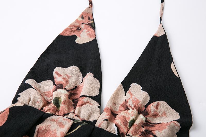 BONGOR LUSS Summer Maxi Dress Women Floral Print Dress V-Neck Sleeveless Spaghetti Strap Backless Side Split Sexy Long Dress (14)