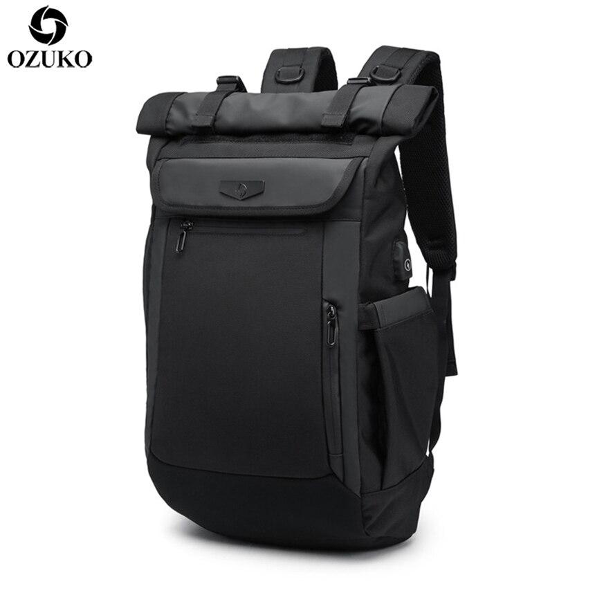 2019 OZUKO חדש משולב גברים תרמיל USB טעינת מחשב נייד תרמילי נער אופנה ילקוט עמיד למים נסיעות המוצ 'ילה