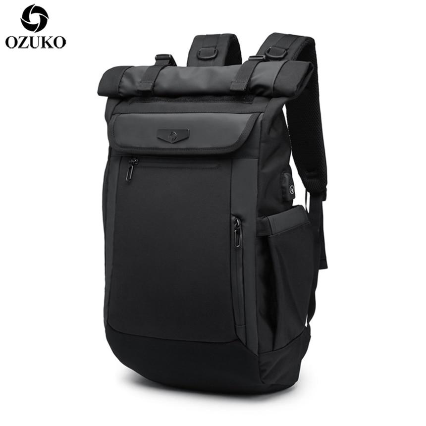 2019 OZUKO 新しい多機能男性バックパック USB 充電ノートパソコンのバックパックティーンエイジャーのファッション通学防水旅行 Mochila  グループ上の スーツケース & バッグ からの バックパック の中 1
