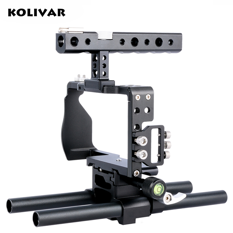 KOLIVAR Professional Alu Alloy DSLR Camera Video Stabilizer Cage with Top Handle Grip Rail for Sony A6000 A6300 A6500 SLR Camera