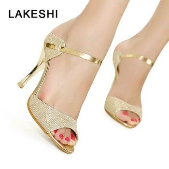 ... Γυναικεία πέδιλα LAKESHI χρυσά με λουράκι στο κουντεπιέ bd551e4b126