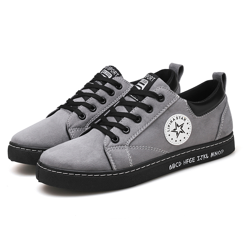 Zhijianzhishe shoes Men Rubber Lace up Casual Breathable Walking Flock Shoes Solid color Three Color Fashion Leisure Shoes