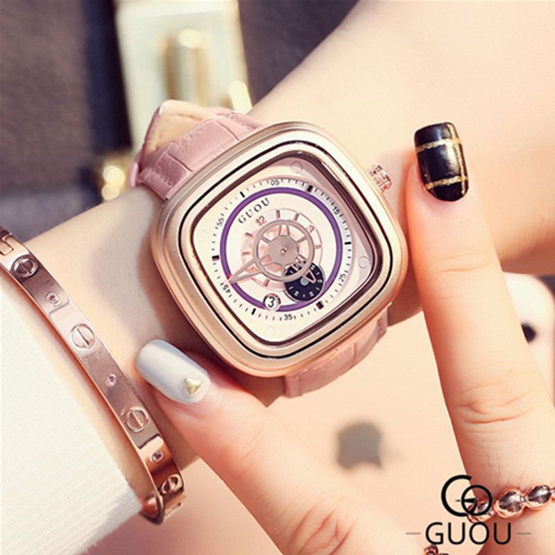 GUOU Brand Luxury Quartz Watch Women Leather Wrist Bracelet Watches Ladies Wristwatch saat hodinky relojes mujer montre femme guou brand luxury rose gold watches women ladies quartz clock casual watch women steel bracelet wristwatch montre femme hodinky
