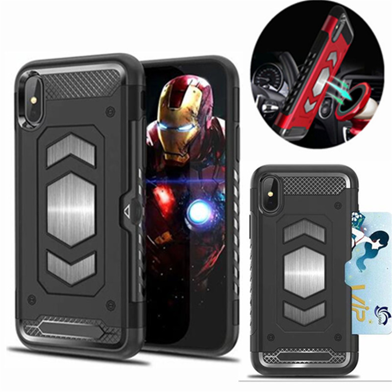 For <font><b>Iphone</b></font> 11 Pro MAX XS XR <font><b>Case</b></font> Shockproof Hybrid PC Car <font><b>Magnetic</b></font> Suction Armor <font><b>Case</b></font> For <font><b>Iphone</b></font> X 6 6S 7 <font><b>8</b></font> Plus Card Slot Cover image