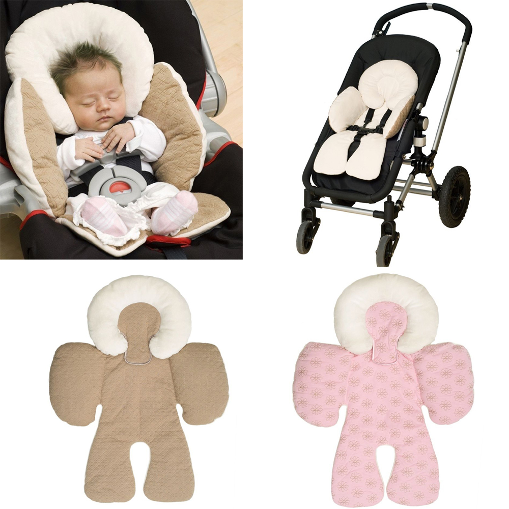 Newborn Baby Infant Safety Car Seat Stroller Reversible Soft Cushion Pad Liner Mat Head Neck Body Support Pillow Beige / Pink baby head protective pad cartoon animal toddlers pillow infant learning walk safety cushion fj88
