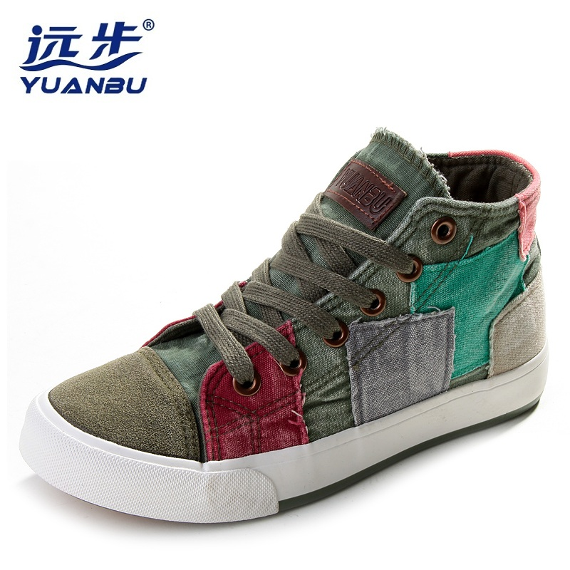 2017 women casual shoes women canvas shoes all match fashion colorant high lacing flat bottom vintage denim shoes for women