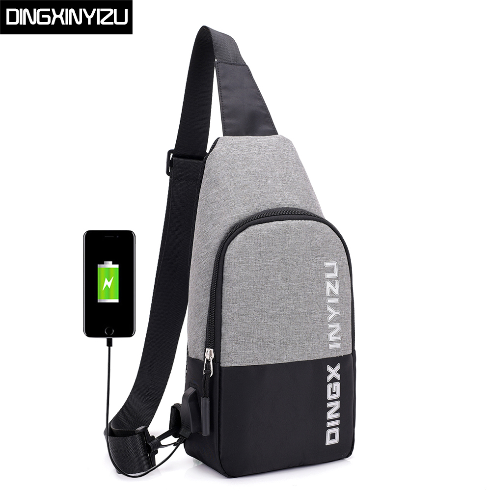 DINGXINYIZU USB Charging Men Chest Pack Travel Crossbody Bag Casual Rucksack Chest Bag Sling Shoulder Bags Male Back Pack Bolsas miwind men chest pack leather genuine cowhide back bag crossbody bags women sling shoulder bag back pack travel bag tbp1148