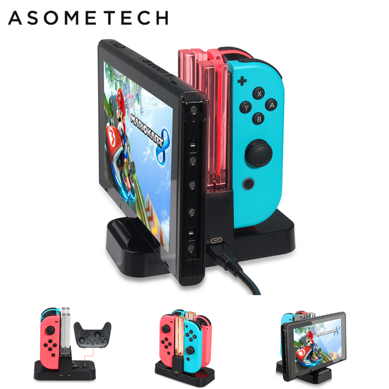 Charging Dock For Nintend Switch Controller LED Charger For Nintendo Switch Gamepad Charge Stand For Joy-con&Pro NS Switch 4 in1Charging Dock For Nintend Switch Controller LED Charger For Nintendo Switch Gamepad Charge Stand For Joy-con&Pro NS Switch 4 in1