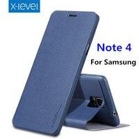X Level Flip Slim Stand Case For Samsung Galaxy Note 4 Case Soft TPU PU Leather
