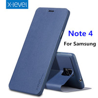 X-niveau flip & slim stand case voor Samsung galaxy Note 4 case Soft TPU + PU Leer 360 volledige cover voor Galaxy note4 mobilephone case