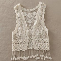 2016 New Baby Toddler Kid Baby Girl Crochet Lace Hollow Out Fringes Tassels Sleeveless shirt Top Vest Tassel Waistcoat