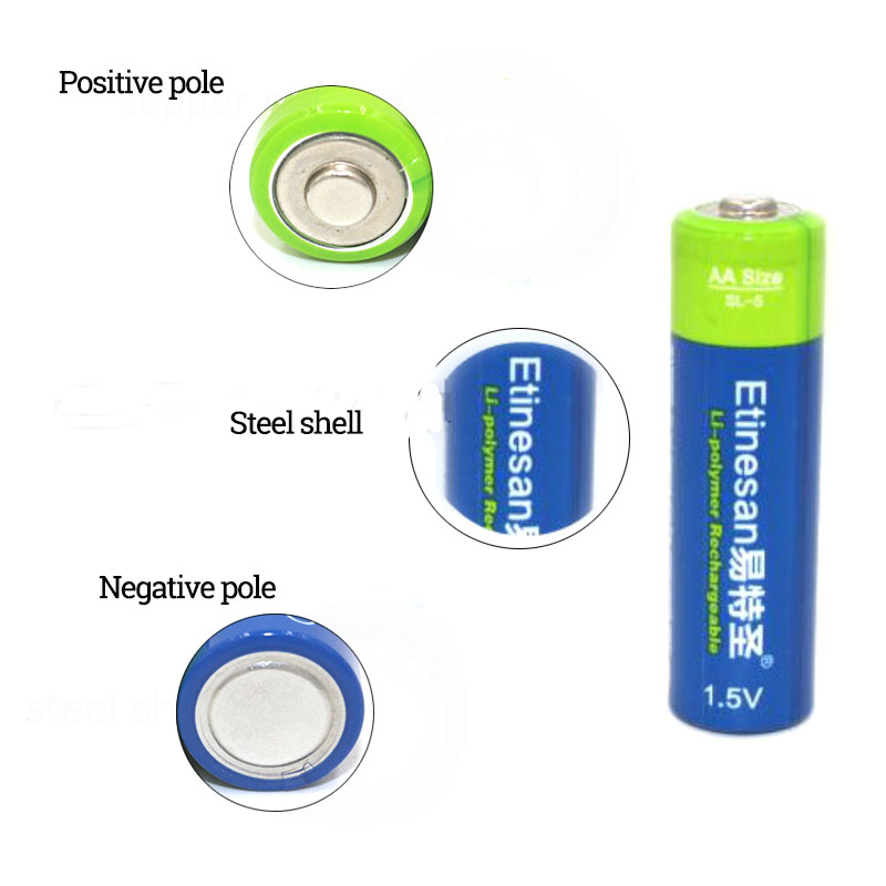 NEW Etinesan 6PCS 1.5V AA Size 3000mWh Li- polymer Rechargeable Battery with AA AAA charger set