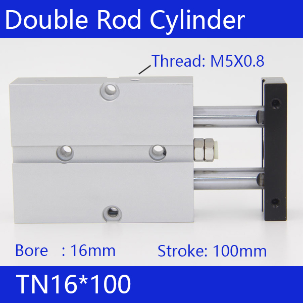 TN16*100 Free shipping 16mm Bore 100mm Stroke Compact Air Cylinders TN16X100-S Dual Action Air Pneumatic Cylinder tn16 70 twin rod air cylinders dual rod pneumatic cylinder 16mm diameter 70mm stroke