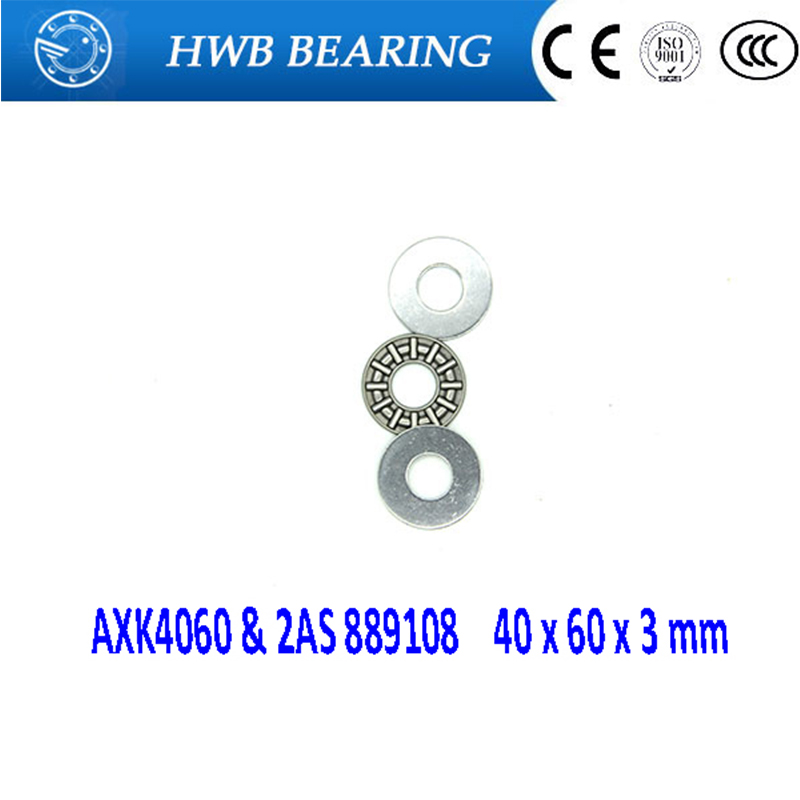 2pcs AXK6590 65x90x3 mm Thrust Needle Roller Bearing with 2AS Washers Each