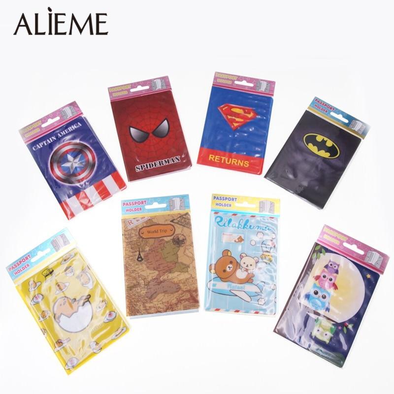 ALIEME Travel Passport Holder Case Fashion Women World Map Passport Cover Creative PVC Leather ID Card Credit 14*9.6cm
