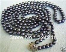 """Envío libre natural 7-8mm negro cultivadas de agua dulce de la perla granos redondos de alta calidad joyería de las mujeres collar de cadena larga 55 """"GE4504"""