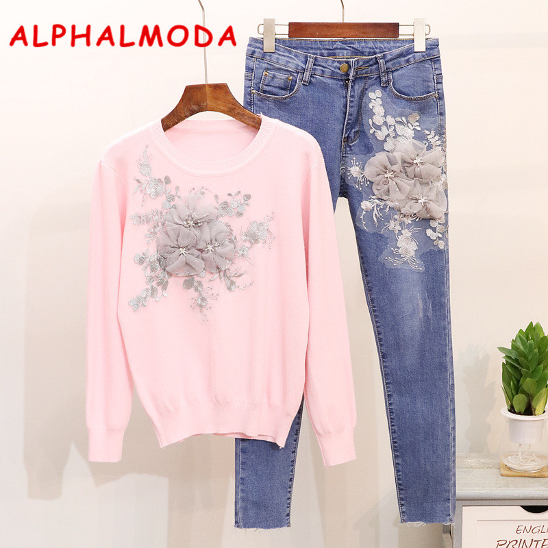 ALPHALMODA European Fashion 2018 Autumn Appliques 3D Flower Sweater Denim Stretchy Pant Sets Women Casual Jumpers