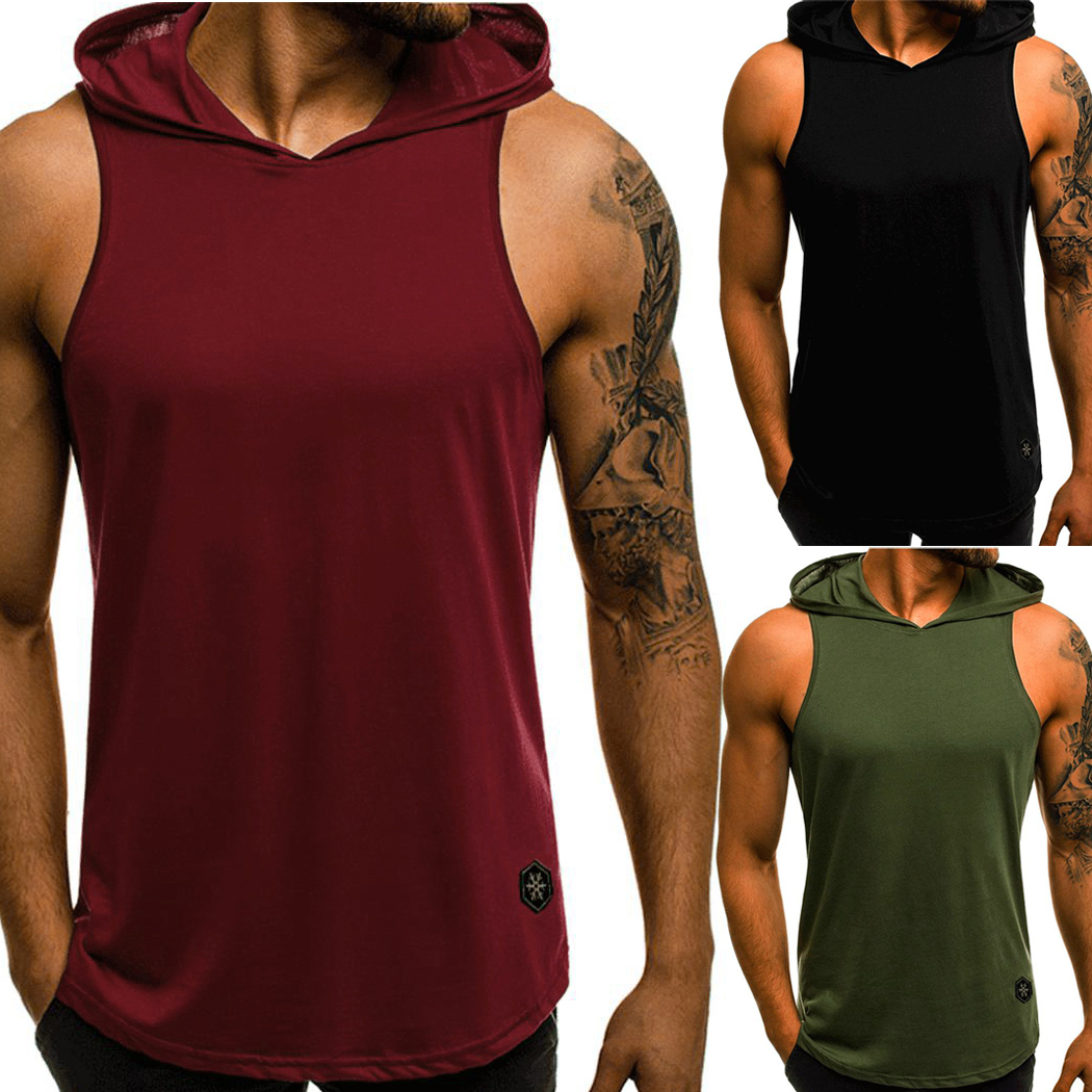 Men Fitness Hoodies   Tank     Tops   Sleeveless Bodybuilding Tee Shirt Stringer Male Workout Hooded Vest Singlet Undershirt Sportswear