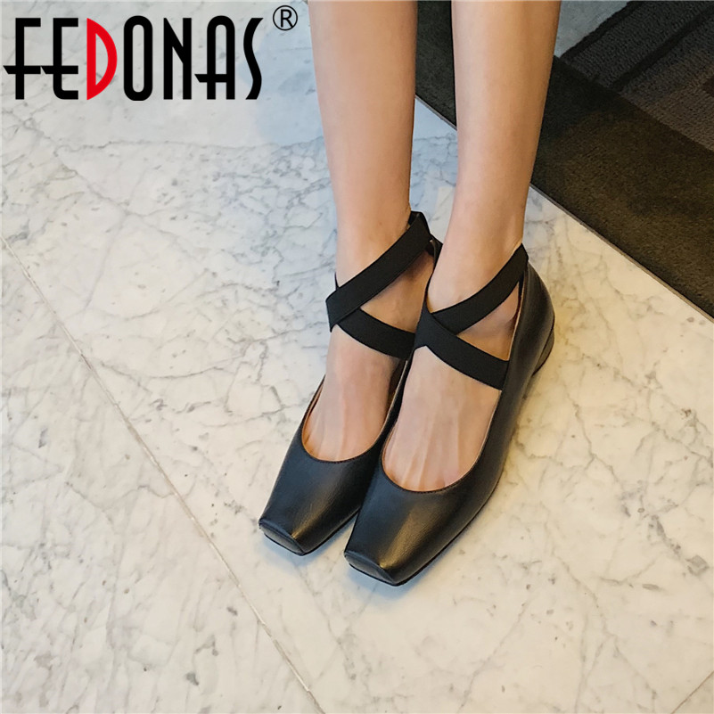 FEDONAS Women Casual Pumps Sheepskin Leather Square Toe Cross Tied Pumps Round Heels Spring Summer Prom