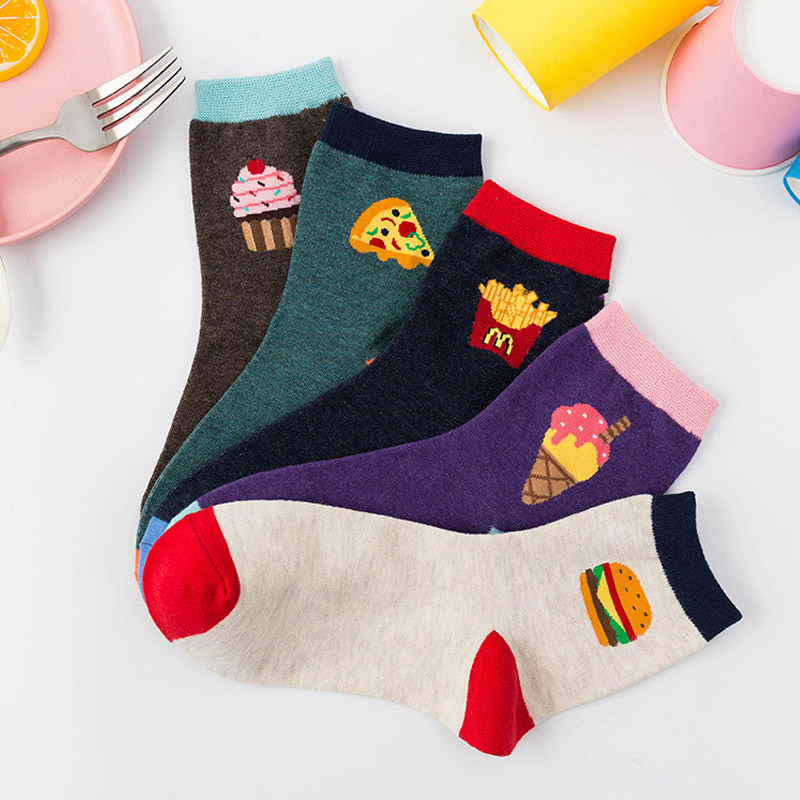Autumn And Winter New Cartoon Food Japanese Harajuku Street Wild Ladies Socks Cotton Sweat-absorbent Korean Version Of The Tide