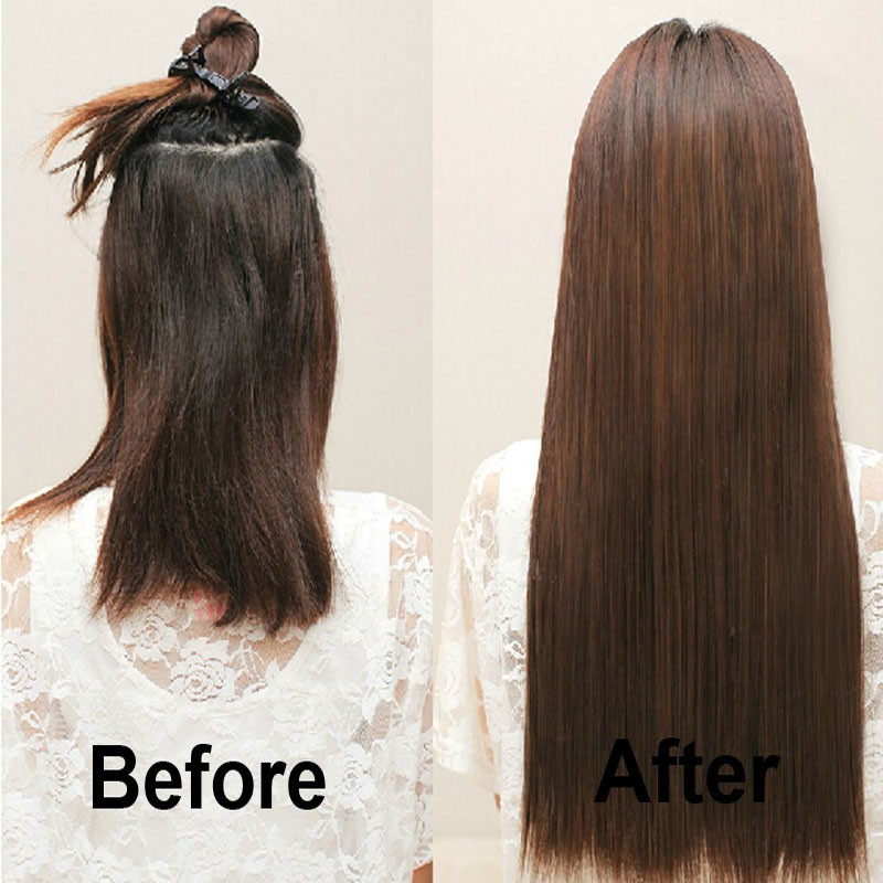 Snoilite 23inch 26inch Synthetic Long Straight Clip Ins Hair