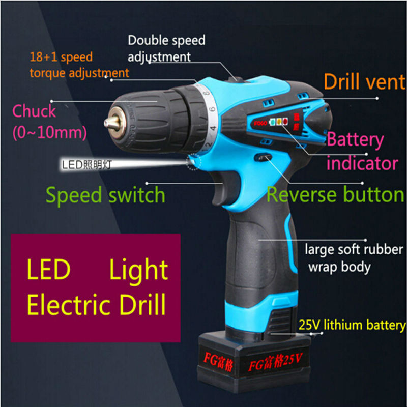 Electric drill 25V two-speed Cordless drill electric screwdriver power tool + rechargeable Lithium Battery 25v cordless drill electric two speed rechargeable 2pcs lithium battery waterproof drill led light