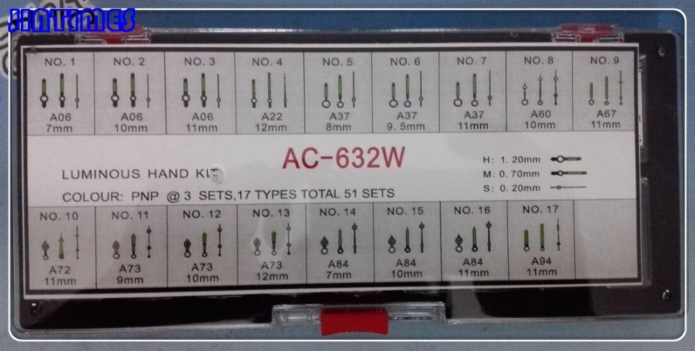 Free Shipping 51 Pairs Luminous Silver Hand Kit for Watch Repair