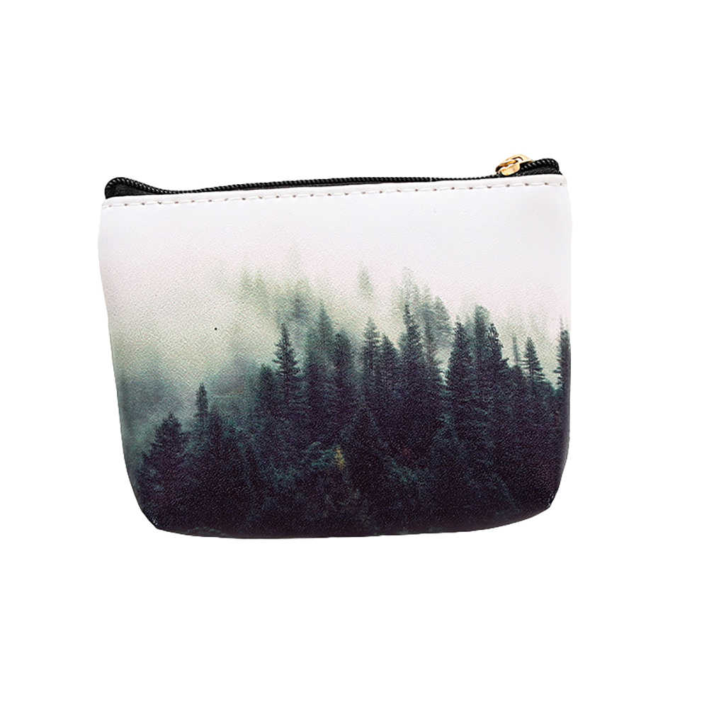 الغابات القمر الرخام النساء فو الجلود محفظة نسائية للعملات المعدنية محفظة صغيرة حامل بطاقة مخلب الاطفال حقيبة