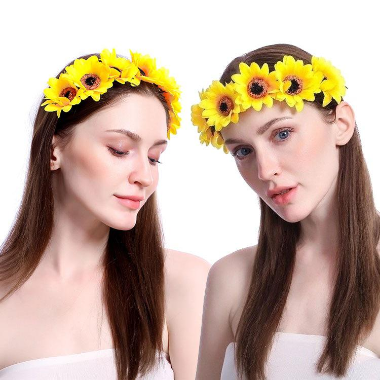 Bohemian Romantic Fairy Headband Bride Hair Band Female Cloth Daisy Sunflower Garland Fantasy Forest Headdress For Wedding Party
