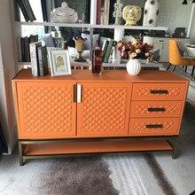Золотисто-оранжевая мебель легкая Роскошная буфет оборудование Итальянский Стиль искусственная кожа художественный шкаф для хранения