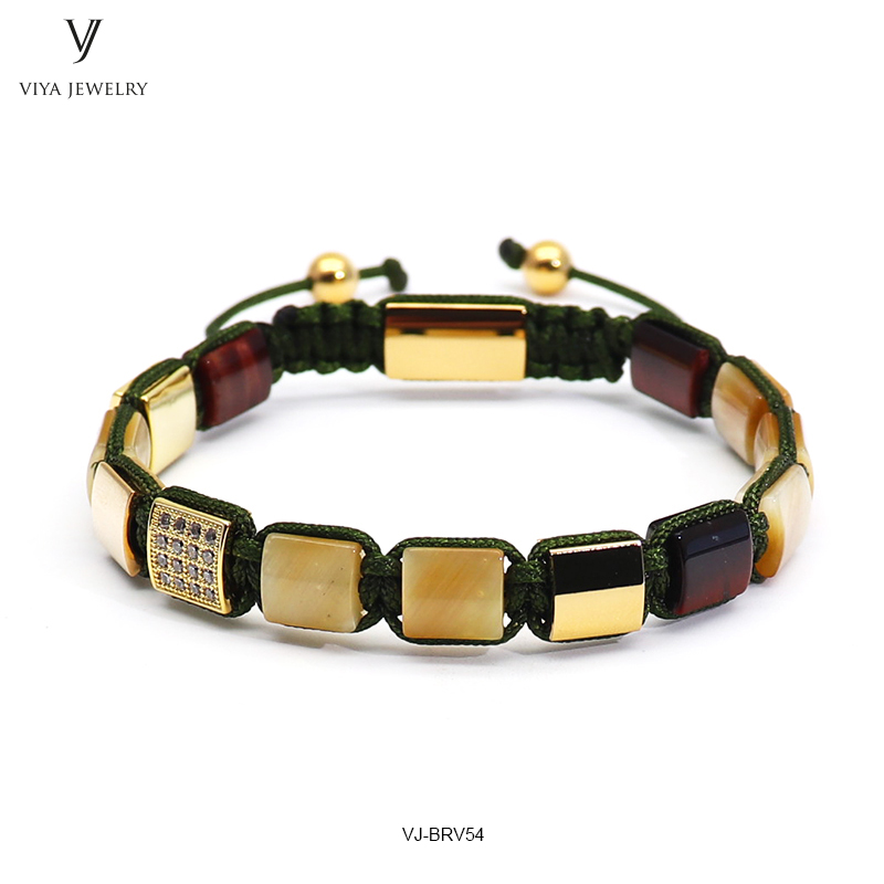 Luxury Gold-color Men Bracelet Golden Tiger Eyes Square Beads & Pave Setting Beads Braided Macrame Bracelet Jewelry For Men Gift 2016 new waterproof black beads macrame bracelets for men women high end cz beads braided bracelet for watch boho men jewelry