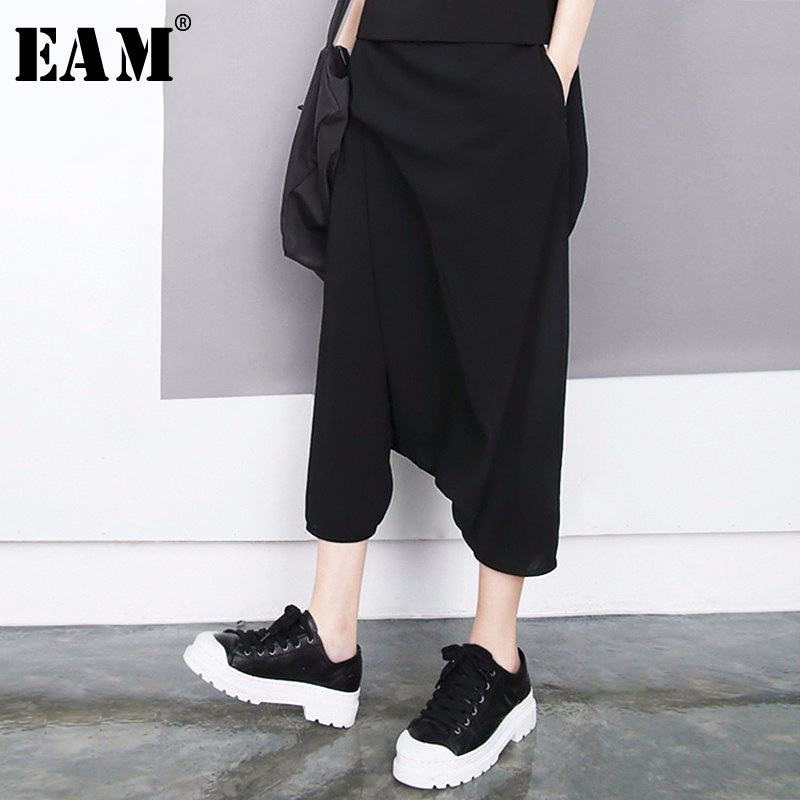 [EAM] 2019 Autumn Winter Woman Stylish Black High Waist Elastic Waist Draped Hollow Out Loose Chiffon Wide Leg Pants LE520