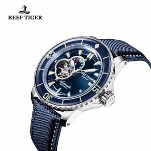Image 3 - Resif Kaplan/RT Erkek Dalış Saatler Naylon Kayış Mavi kadranlı saatler Işık Otomatik İzle Tarih RGA3039
