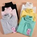 Criança do sexo feminino camisola de gola alta roupas criança outono e inverno camisola das mulheres de malha camisa básica