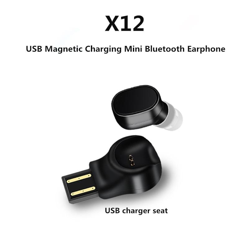 Portable Wireless Bluetooth Headset X12 Car Bluetooth Headphone USB Magnetic Charging Mini Bluetooth Earphone S530 Sport Headset 10pcs mini blutooth earphone small wireless s530 headset microphone earphone micro s530 earpiece sport headphones for xiomi sony